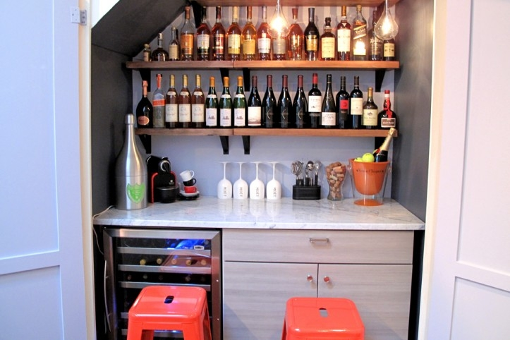 Building A Wine Bar In An Nyc Closet | Bar Under Stairs Design | Stair Storage | Basement Remodeling | Floating Shelves | Space | Escaleras
