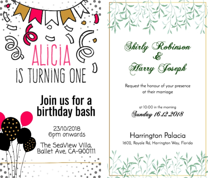 birthday and wedding invite