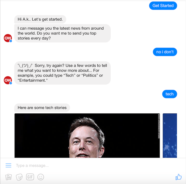 A conversation with the CNN chatbot