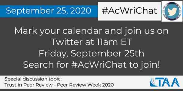 Special #AcWriChat Tweetchat event on 9/25/2020
