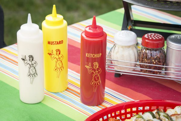 mayo, mustard, ketchup squeeze bottles