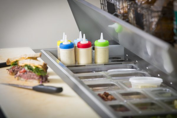 sandwich bar with squeeze bottles