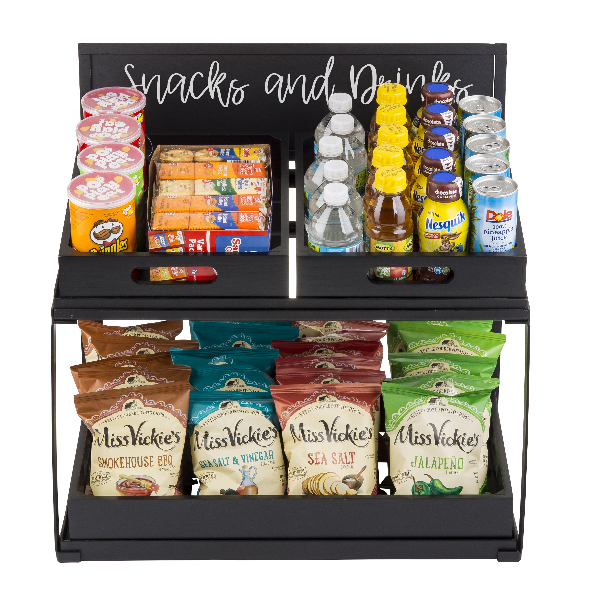 Two-Tiered riser Frame with snacks