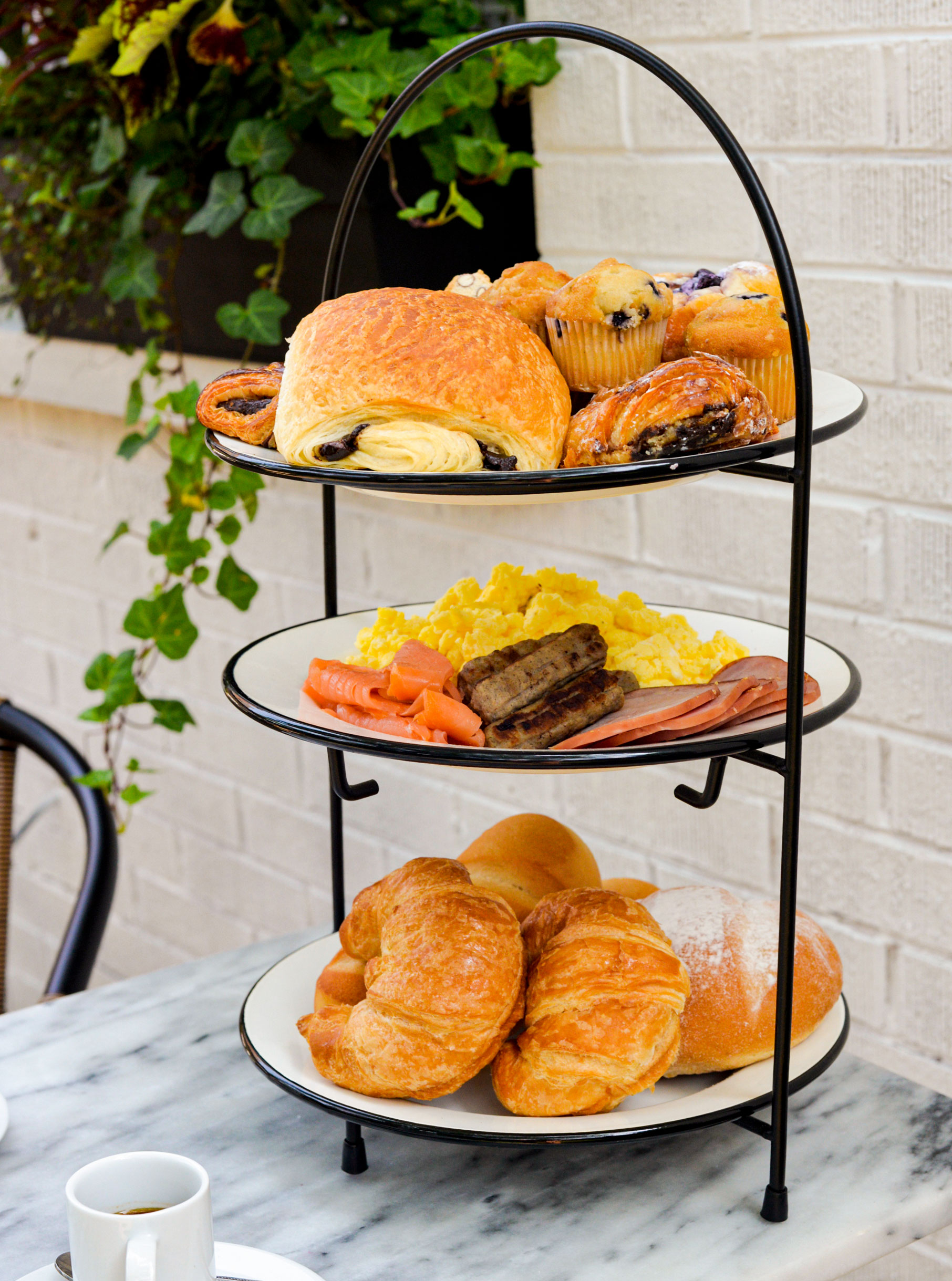 breakfast tower with bakery goodness