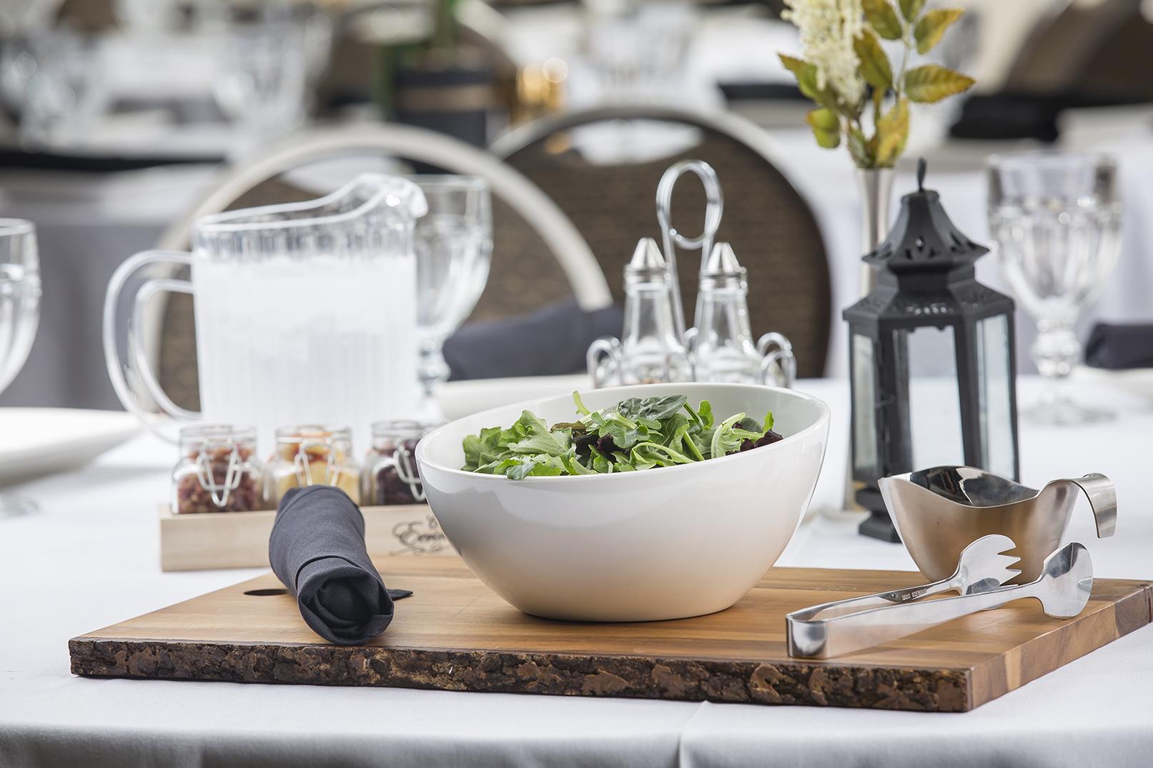 White melamine bowl with salad