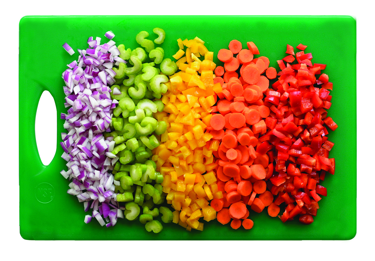 Cutting board with chopped veggies