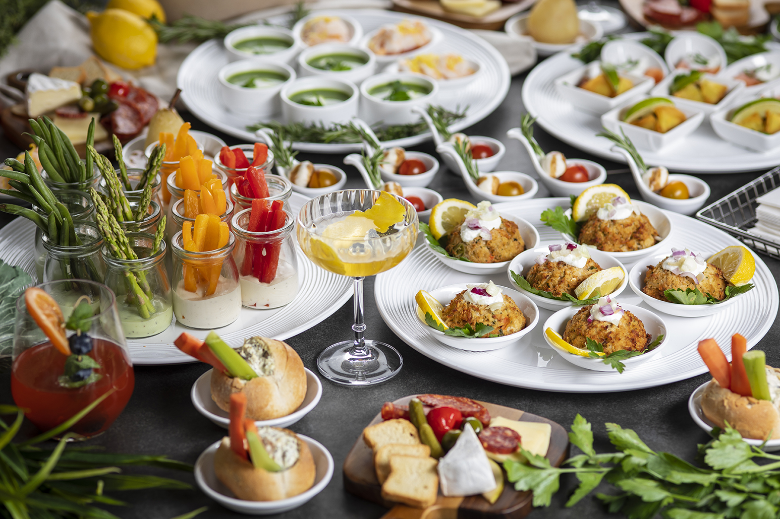 selection of mini buffet dishes for tasting