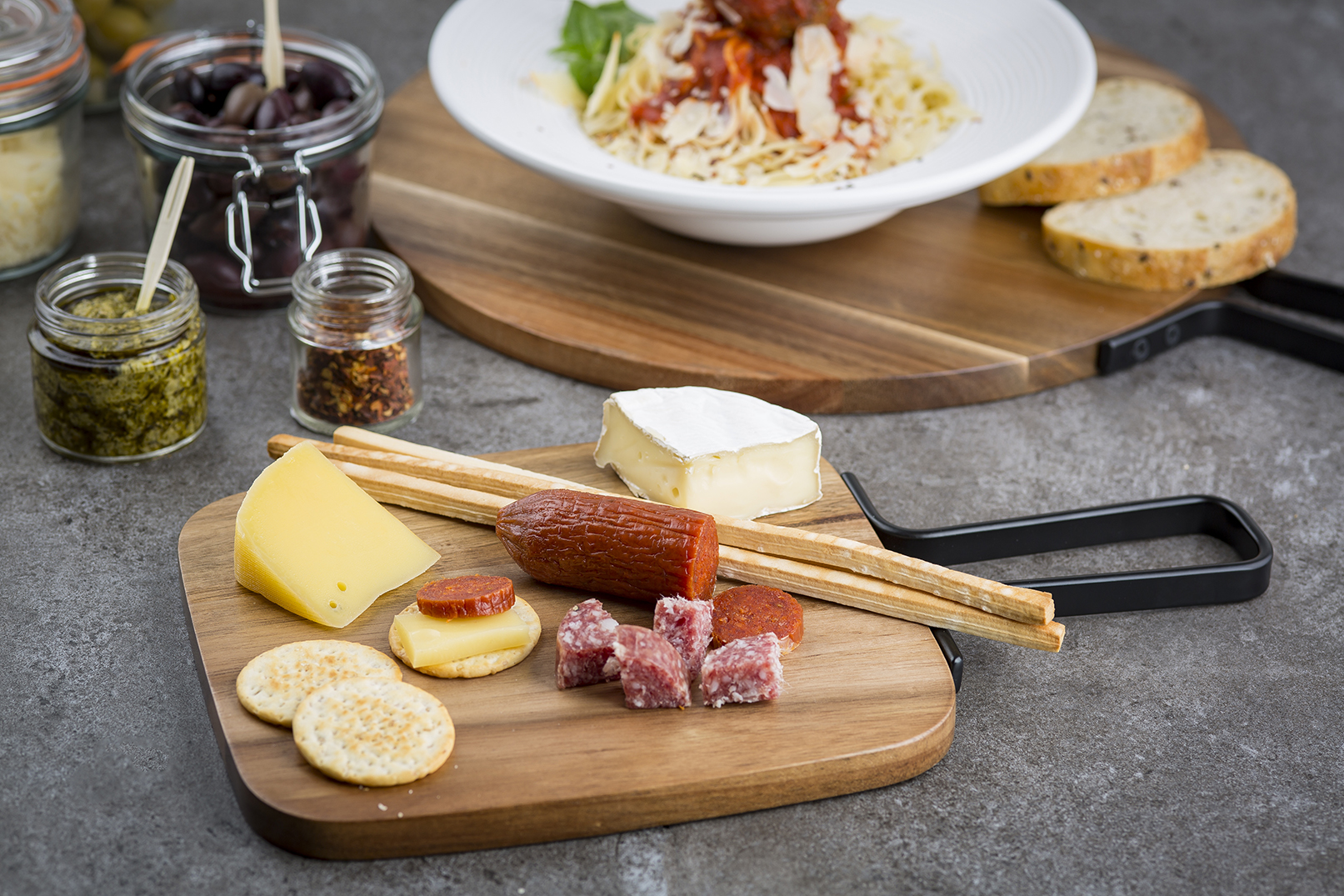 meat and cheese italian style Chacuiterie board