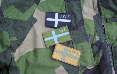 Sweden Flag OPS PVC Black/Grey, Green and Desert