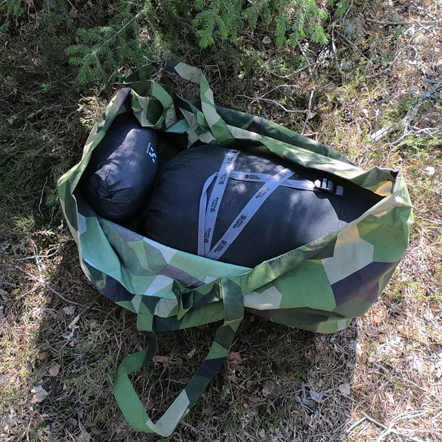 Use the Biggie Bag M90 for your soft items like clothes, sleeping bag etc
