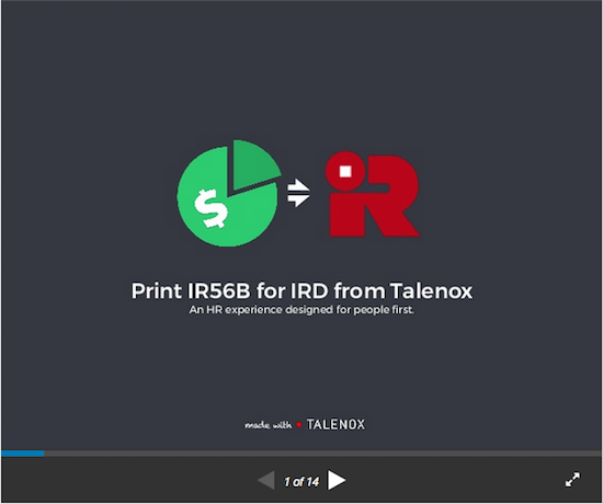 guide to printing IR56B to IRD from Talenox