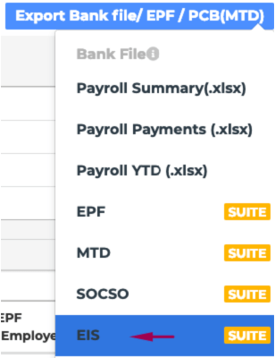 dropdown menu displaying the EIS option on Talenox