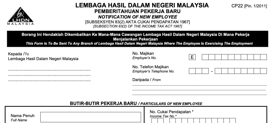 LHDN Form CP22 preview