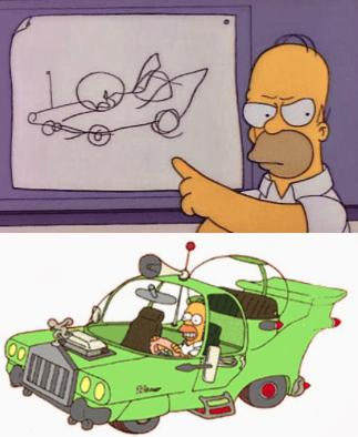 Homer Simpson e o carro maluco.