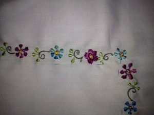 Flowers embroidered by Cristina