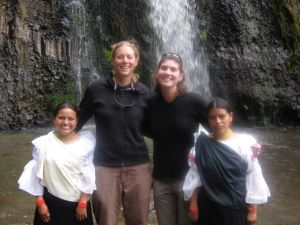 Margarita with her sister and tandana friends at Taxopamba waterfall