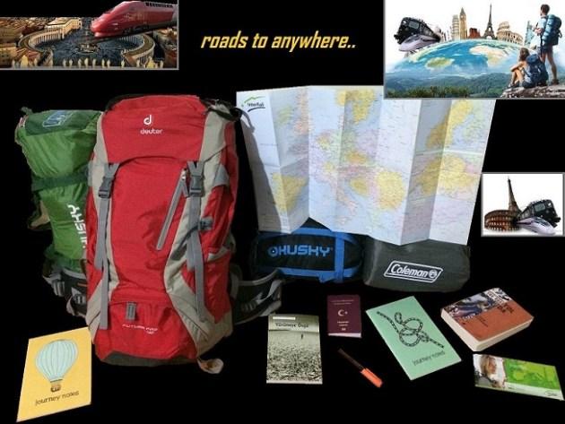 Seyahat öncesi setim. Çanta, uyku tulumu, çadır, mat, harita, kitap, defter, kalem, bilet, pasaport.