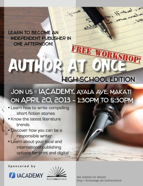 Author At Once High School Edition - Indie Publishing Workshop