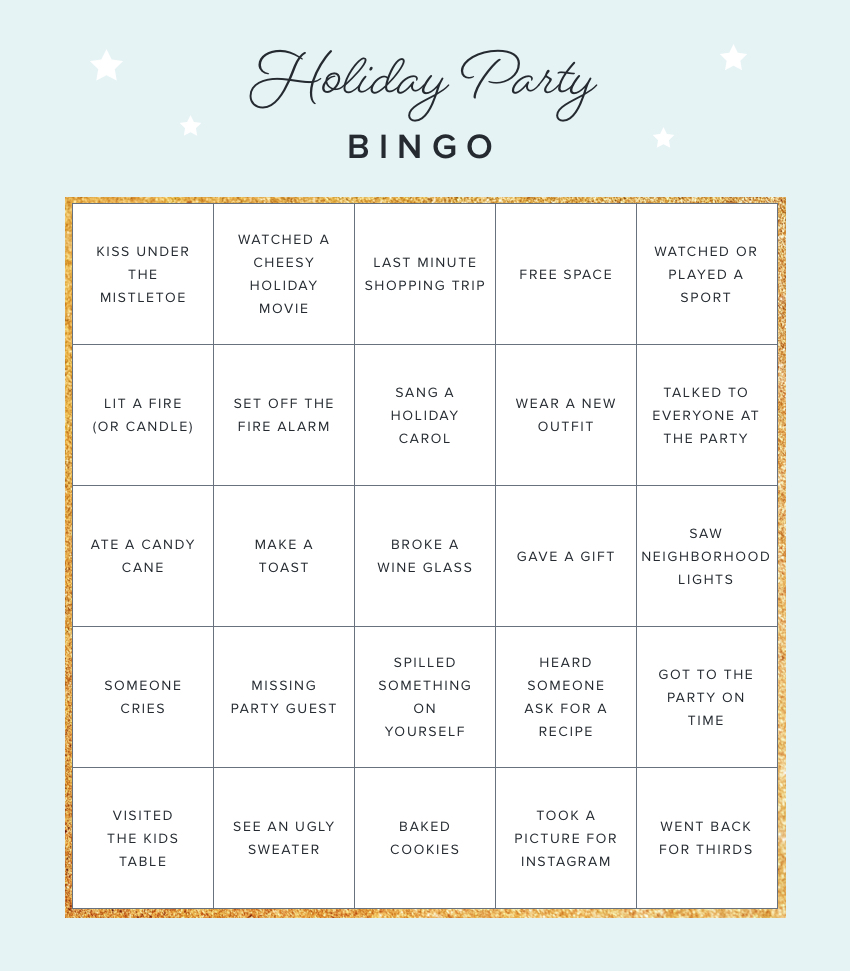 graphic about Holiday Bingo Printable named Printable Bingo Playing cards for Your Future Holiday vacation Social gathering The Hutch