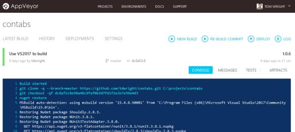 Screenshot of a successful build