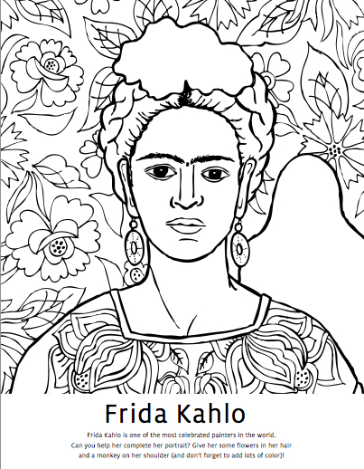 Diego Rivera Coloring Pages Frida Kahlo Coloring Pages Studio T Blog