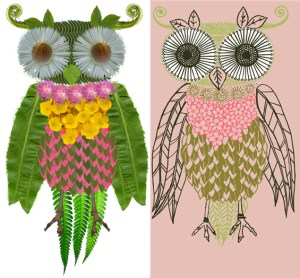 owl created from flowers and leaves