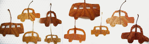 cars made of leaves