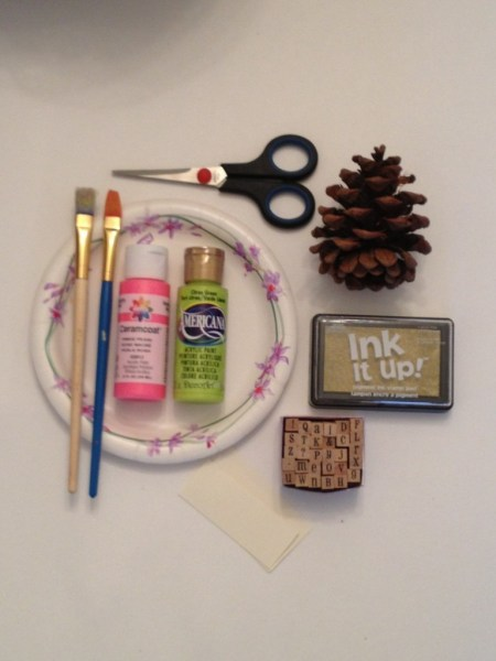 Scissors, pinecone, neon paint, stamp pad