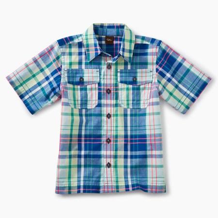 Boys Neon Plaid Buttoned Shirt