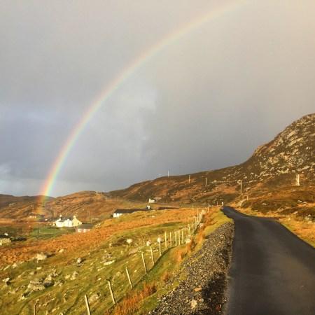 Driving through Scottish highlands