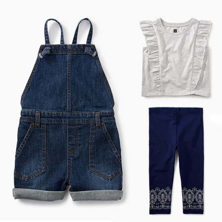 Girls Denim Shortalls Outfit