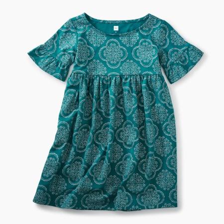 Girls New Orleans Tile Ruffle Sleeve Knit Dress