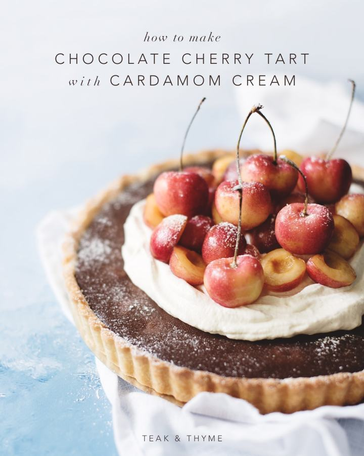 Chocolate cherry tart with cardamom cream on blue background