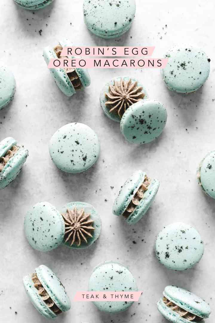 Robin's egg oreo macarons with oreo buttercream piped in the middle with text overlay