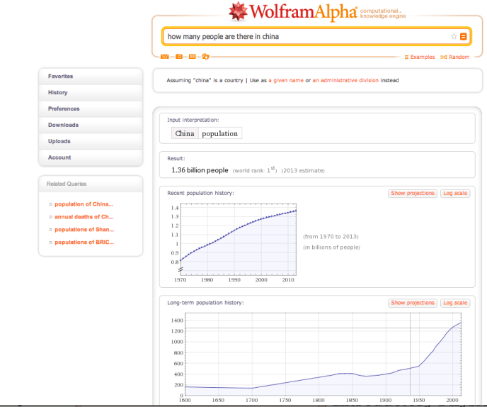 Wolfram Alpha - China Population