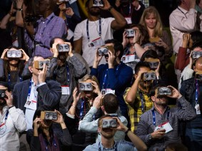 "Chris Milk hosts the ""largest collective virtual reality viewing in history"" during TED2016"