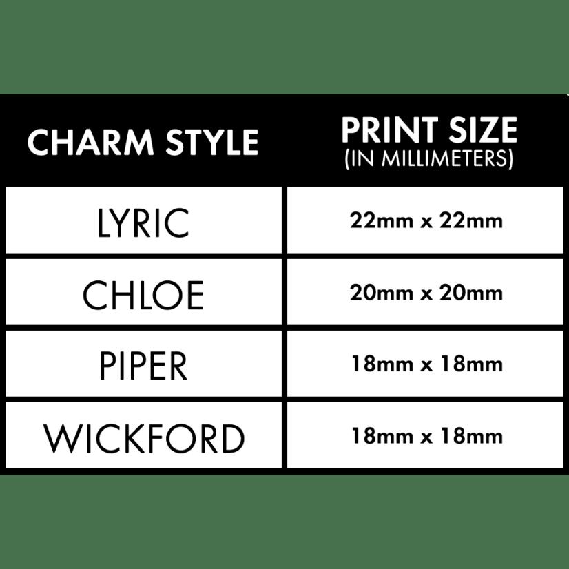 Charm Size Spec Sheet