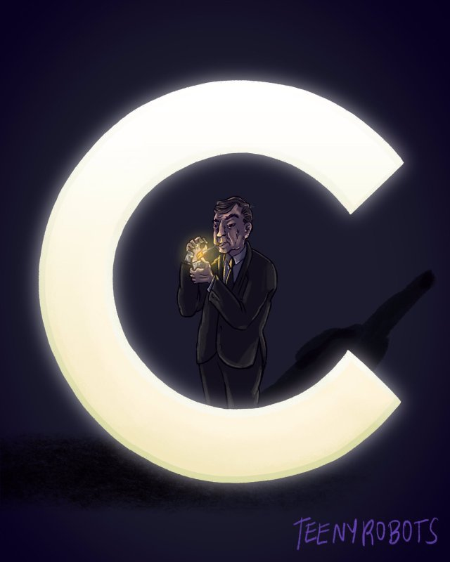 man lighting a cigarette inside the letter C