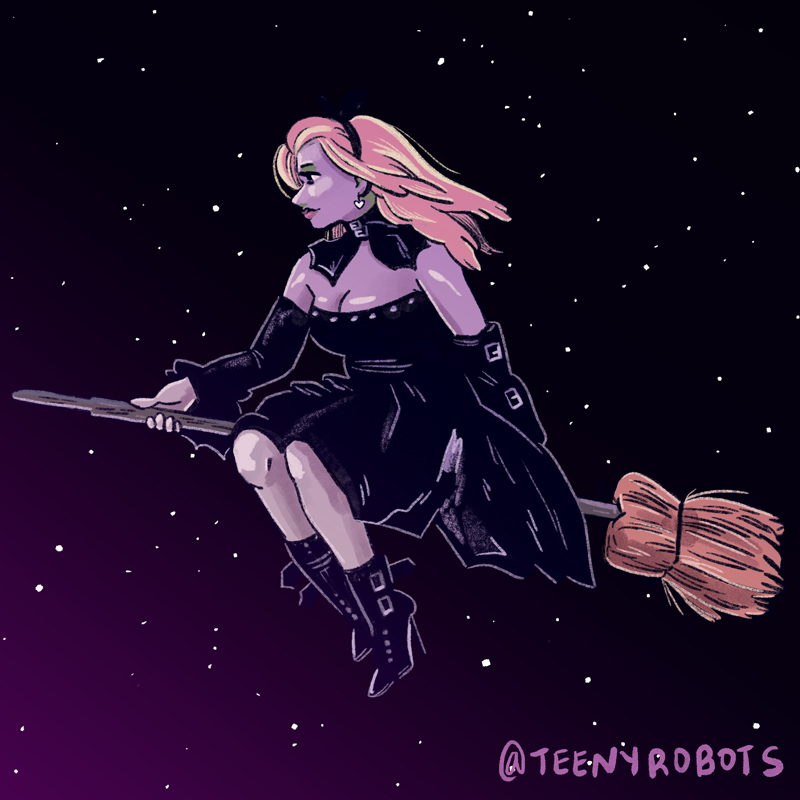 witch riding a broomstick at dawn