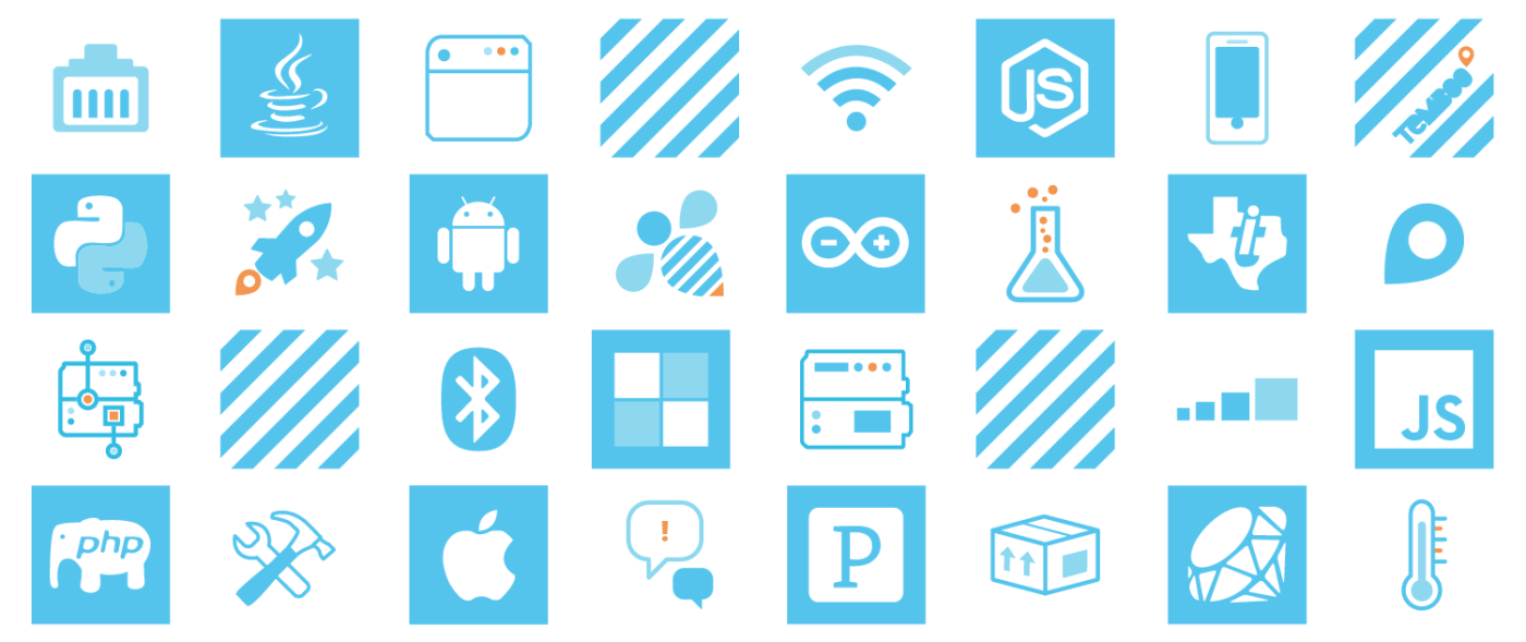 grid of iot illustrations