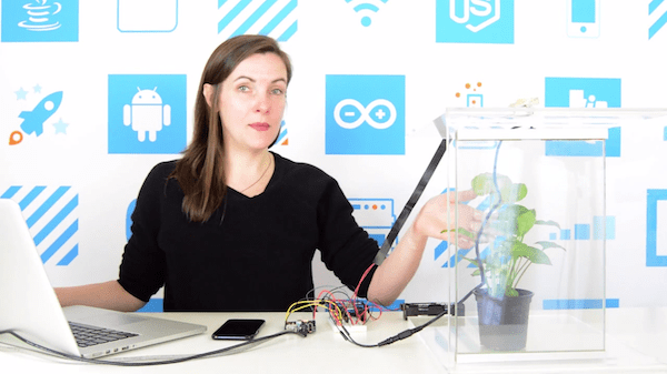 Woman with Temboo's vertical farm iot application