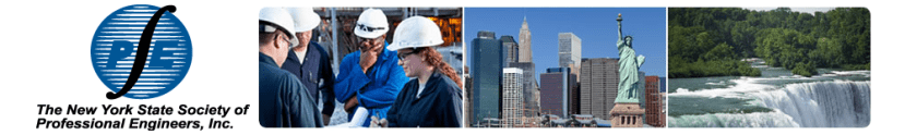 NYSSPE logo, professional engineers, and New York