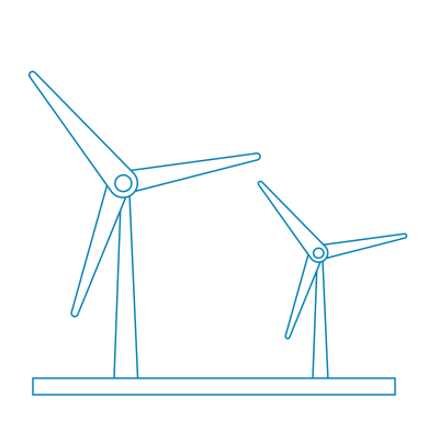 Illustration of wind turbines