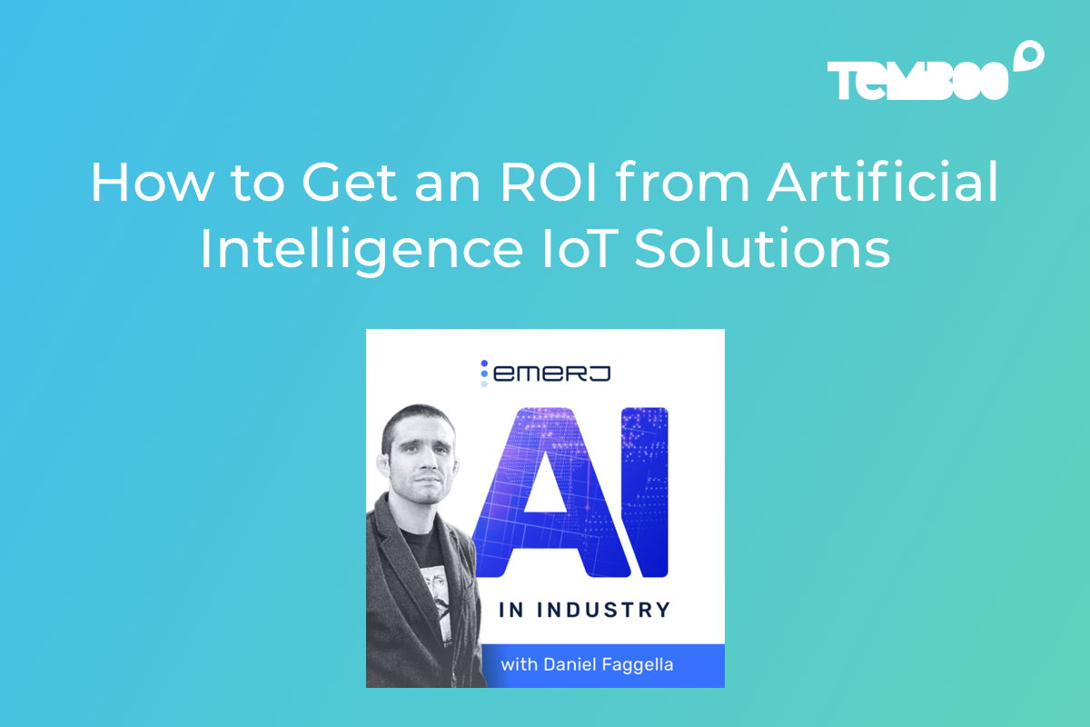 """AI in Industry Logo with photo of the host. Text on image says """"How to Get an ROI from Artificial Intelligence IoT Solutions"""""""