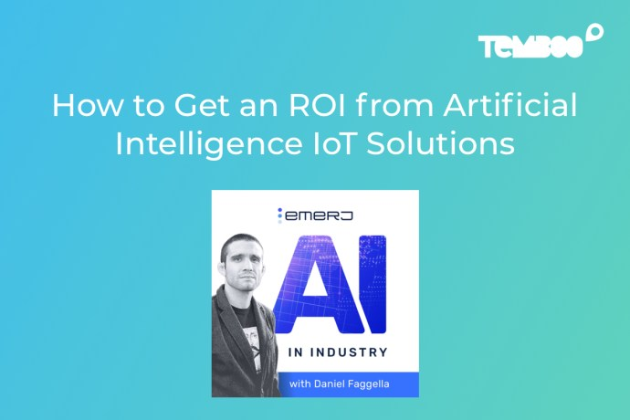 "AI in Industry Logo with photo of the host. Text on image says ""How to Get an ROI from Artificial Intelligence IoT Solutions"""