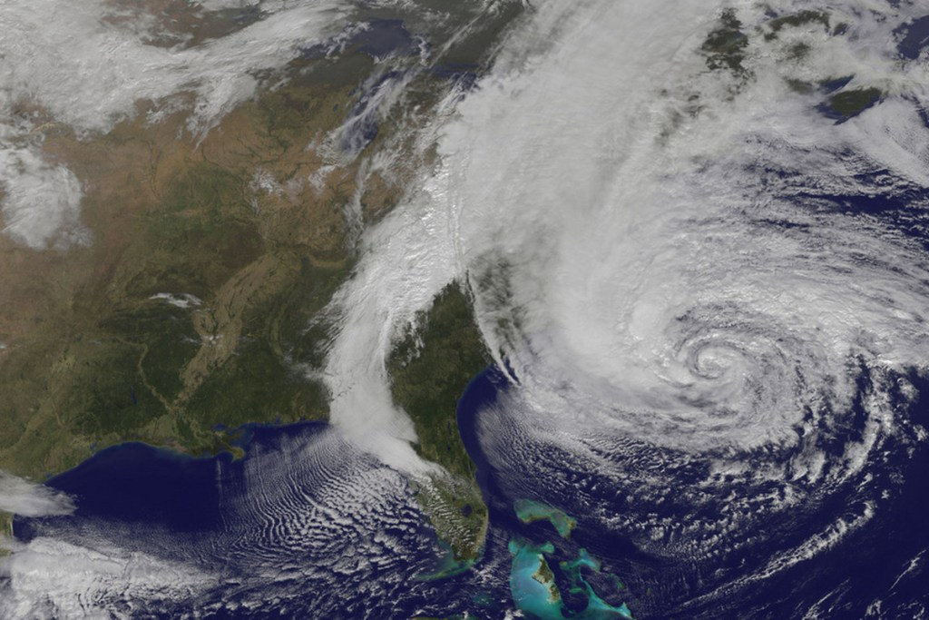 Satellite image of Hurricane Sandy