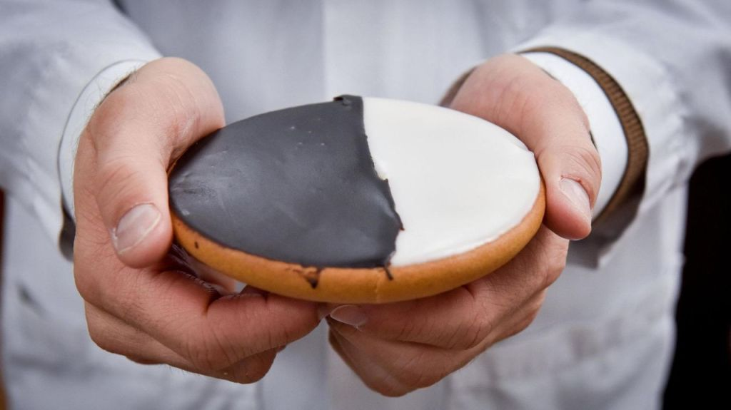 A black-and-white cookie from Zaro's