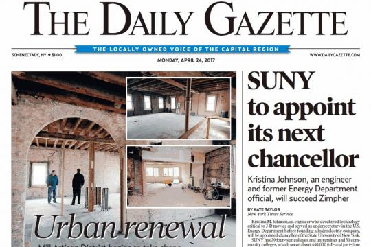 Frontpage of The Daily Gazette
