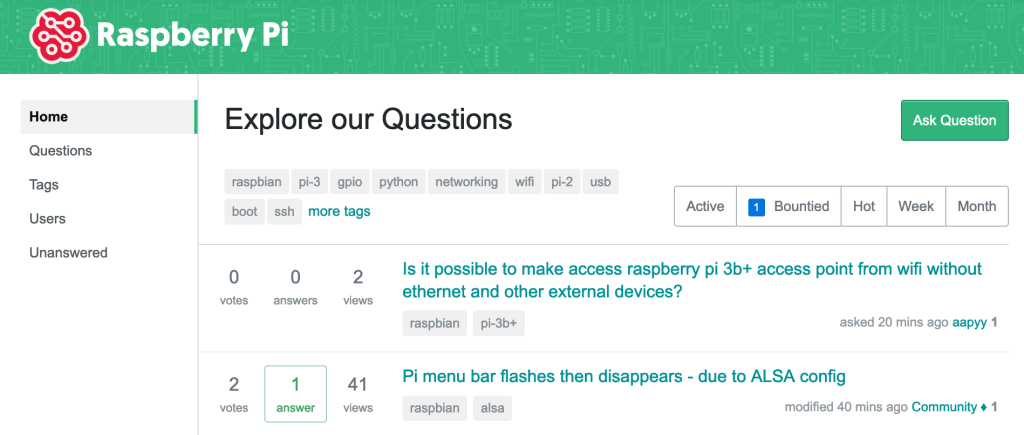 Stack Exchange's Raspberry Pi Homepage