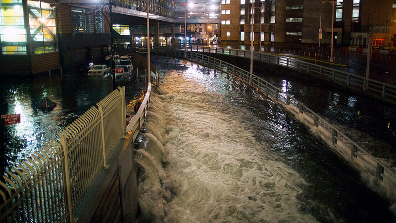 Flooded area during Hurricane Sandy